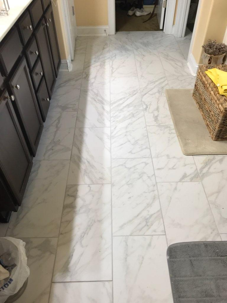 Completed Tile flooring